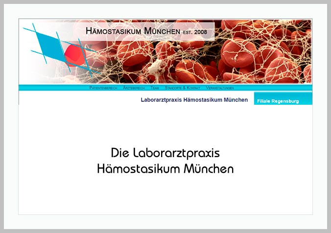 Bildtafel mit Logo des Hämostasikum München und Hinweistext