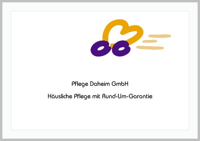 Bildtafel mit Logo des Pflegedienstes Pflege Daheim GmbH und Hinweistext
