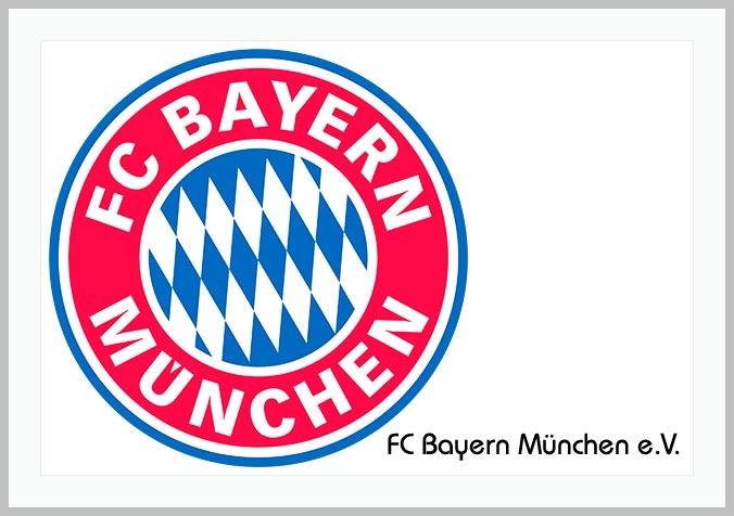 Bildtafel mit Logo des FC Bayern München und Hinweistext