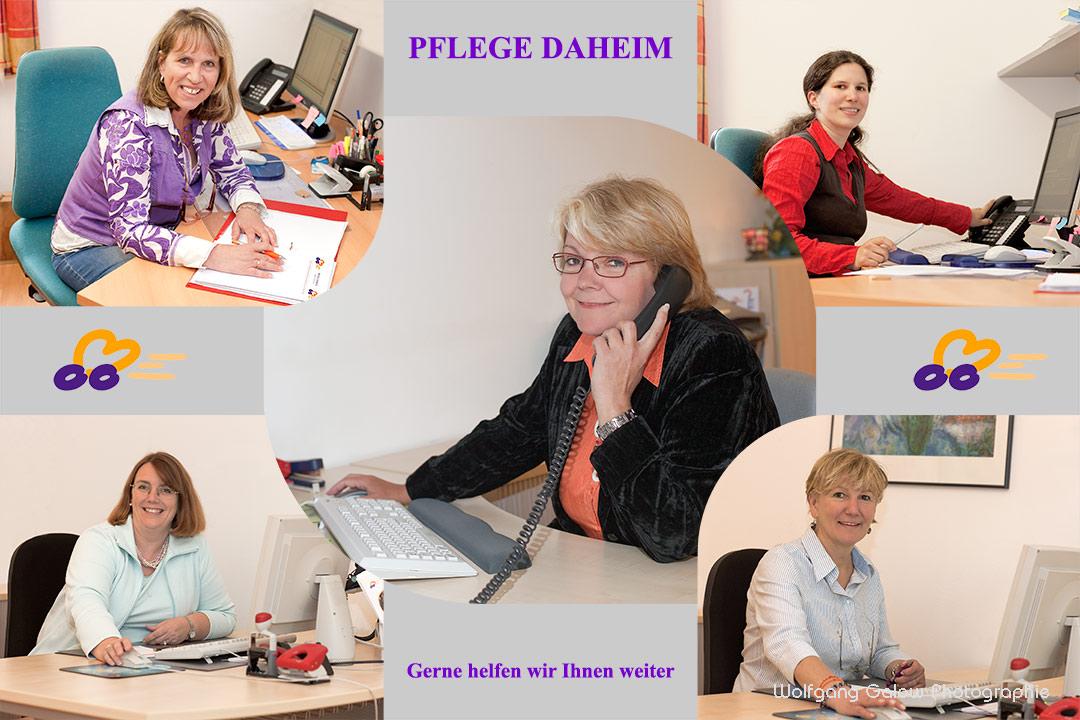 Eine Fotomontage mit der Chefin in der Bildmitte und ihre 4 Mitarbeiterinnen im Büro rund um sie
