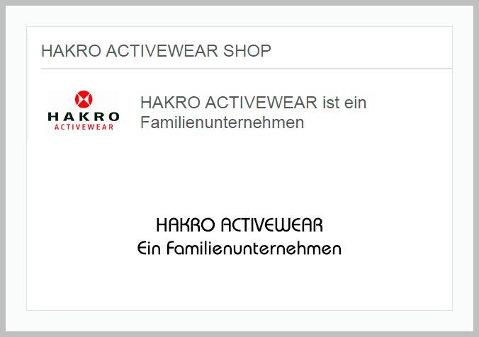 Bildtafel mit Logo der HAKRO Activewear und Hinweistext
