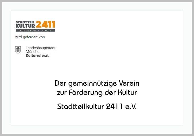 Bildtafel mit Logo der Stadtteilkultur2411 und Hinweistext
