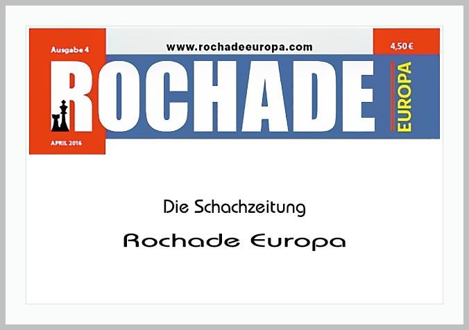 Bildtafel mit Logo der Rochade Europa und Hinweistext