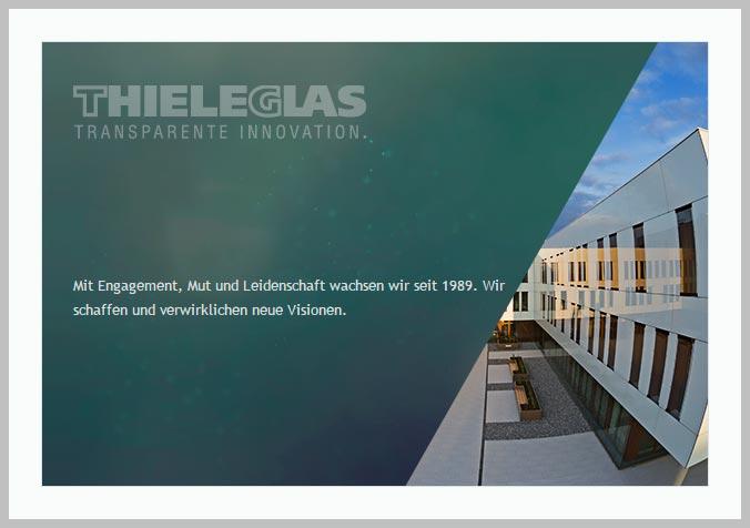 Bildtafel mit Logo der Thiele Glas AG und Hinweistext