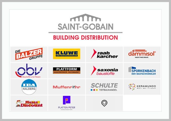 Bildtafel mit Logo der Firma Saitn Gobain Deutschland GmbH und Hinweistext